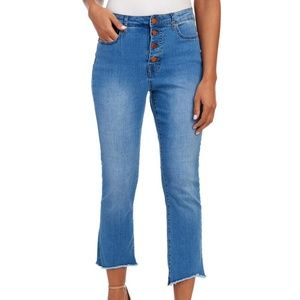 For the Republic Button Fly Raw Hem Cropped Jeans
